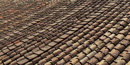 Detail of the ancient roof tiles of Rome, Italy Zdjęcie Seryjne