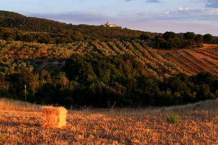 Sunset on the Tuscan Maremma. Capalbio village on the hill and hay bale in the foreground. 写真素材