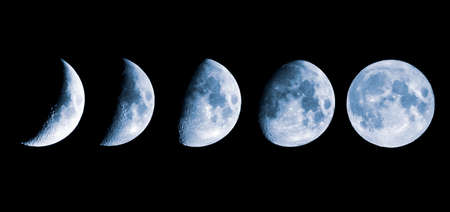 Growing phases of the moon in 5 steps.