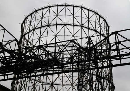 Gazometro, metal structure for gas storage. Iconographic image of the Ostiense district in Rome. Banque d'images
