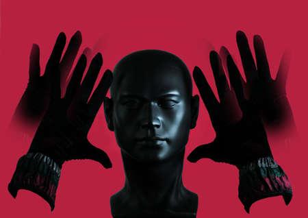 3d Illustration. Black plastic mannequin head, hands with black gloves on the sides of the face, pink background. Banque d'images