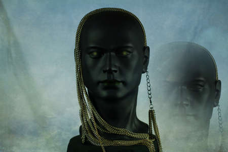 3d Illustration. Black plastic mannequin head with golden necklace and in the background image cloning on light mottled background Banque d'images
