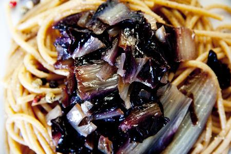 radicchio: Spaghetti with Radicchio chicory Stock Photo
