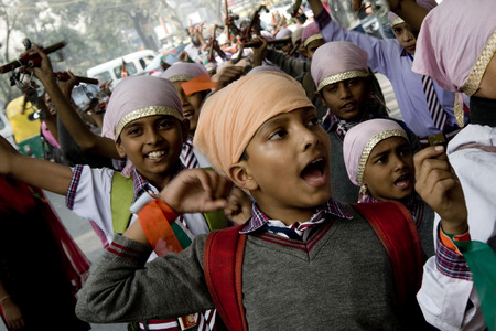 population growth: Guru Nanak Jayanti celebration in Delhi, India