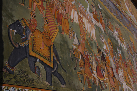 rajput: Indian wall painting at Muslim shrine at Mehrangarh Fort in Jodhpur, India