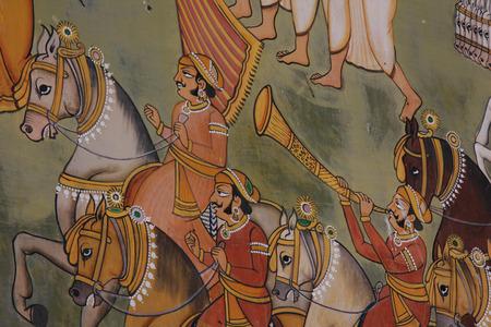 painting wall: Pintura mural de la India en el santuario musulm�n en la fortaleza de Mehrangarh en Jodhpur, India Editorial