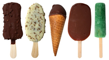 Ice cream five pieces different on a white background Stock Photo
