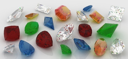 Precious stones, diamond, ruby, emerald, sapphire, topaz Stock Photo