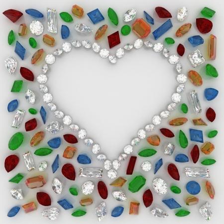 ruby gemstone: Heart of Diamonds around the precious stones Stock Photo
