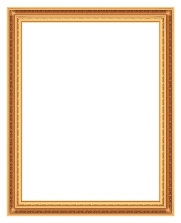 Frame bronze for pictures isolated on white background Stock Photo