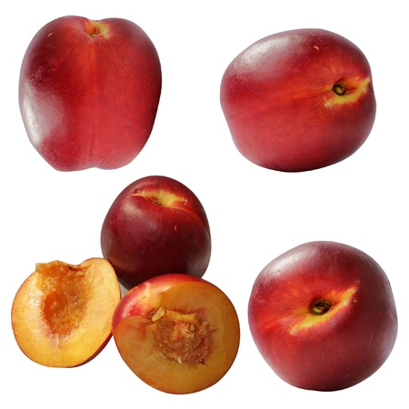 nectarine juicy whole and rifled form Stock Photo