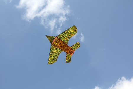 The paper plane for children flying against blue the sky