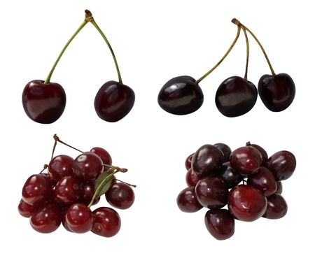 fresh  cherry ,cherries isolated on white background