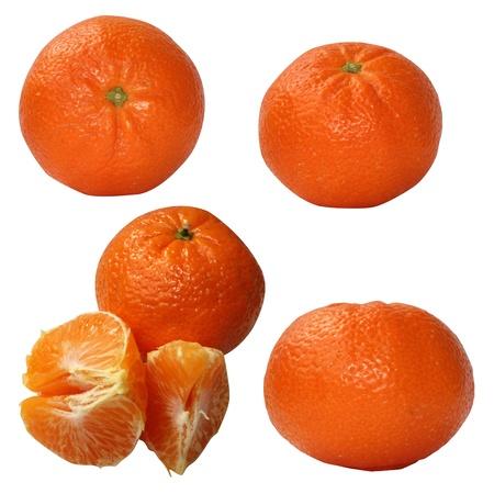 Set of mandarine fruits isolated on white background Stock Photo