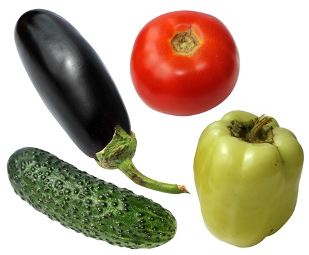 Vegetables fresh four pieces isolated on a white background