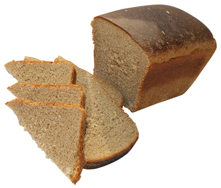 Black bread cut on a white background
