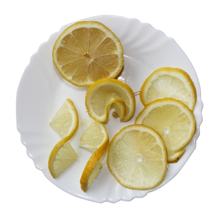 Lemons on a plate on a white background.