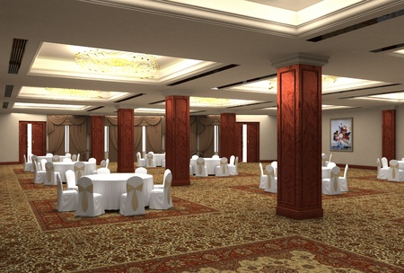 hall: 3D design the project of restaurant
