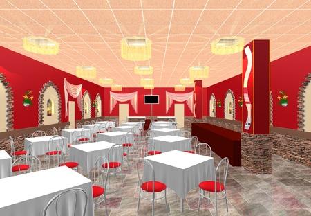 El diseño en 3D del proyecto de restaurante