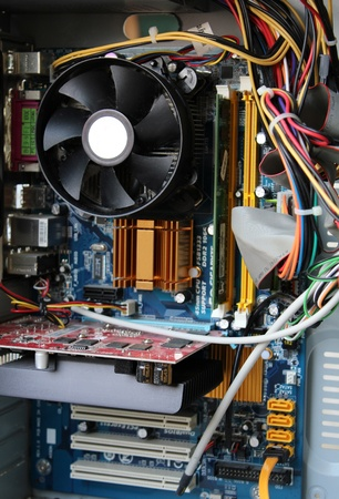 Photo of computer system unit from the inside Stock Photo