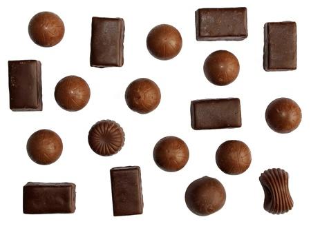 Assorted  chocolate on a white background