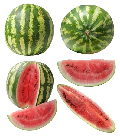 watermelon and slice isolated on white background Stock Photo