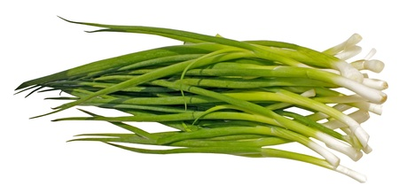 Spring onions - isolated  on a white background Stock Photo