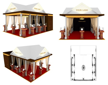 Design project of exhibition stand on a white background