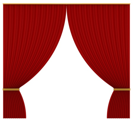 Curtains of red velvet on a white background