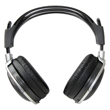 Silver and black headphones, isolated  on a white background