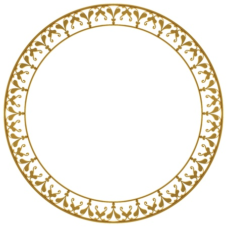 Round frame made of gold on a white background
