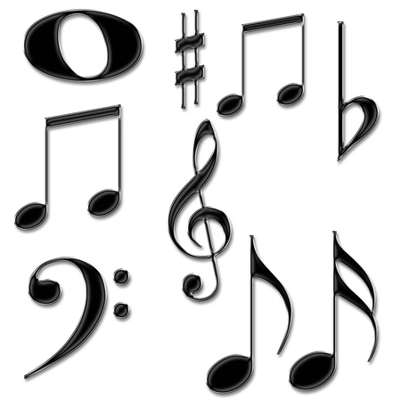 musical score: Music notes symbols isolated on a White background
