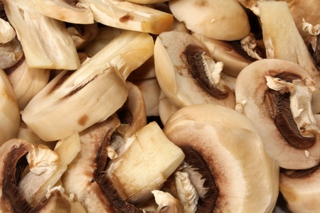 Mushrooms sliced ??fresh in close-up