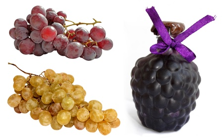 Wine bottle and grapes on white background Stock Photo - 10815698