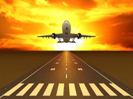 The plane on the runway at sunset