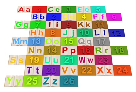 English alphabet letters with numbered colored photo