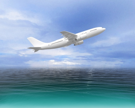Plane taking off over the sea