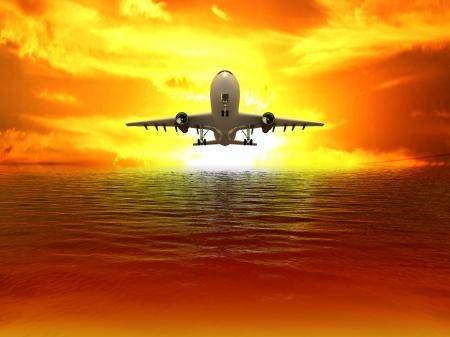 Avión despegando sobre el mar