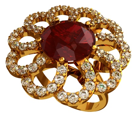 Gold ring with ruby ??and diamonds Stock Photo