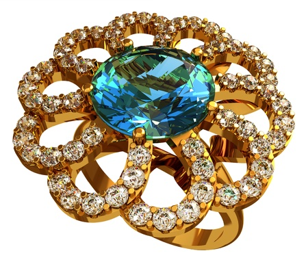 topaz: Gold ring with topaz and diamonds