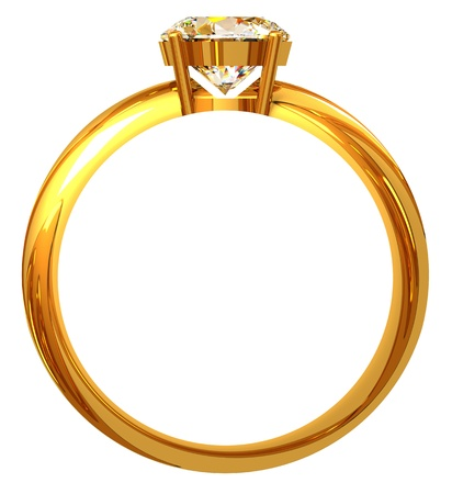 Gold ring with diamond isolated on white background Stock Photo