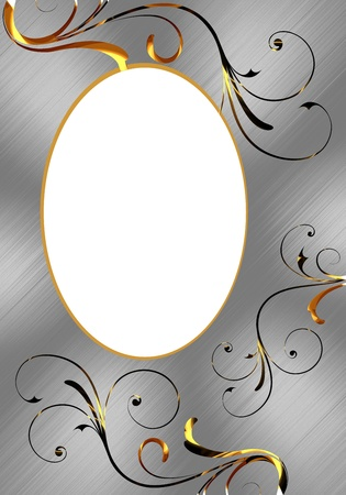 Oval aluminum frame with gold ornaments photo