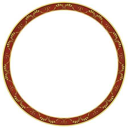 Round frame with gold patterns