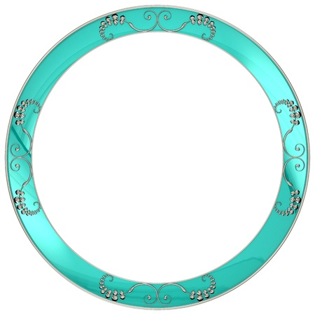 Round frame with silver patterns Stock Photo