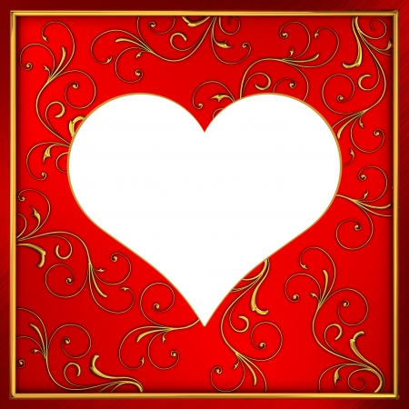Frame heart with golden ornaments Stock Photo