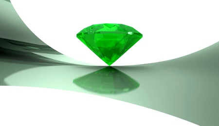 Emerald on a white background