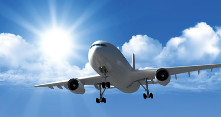 Plane on a background of clouds Stock Photo
