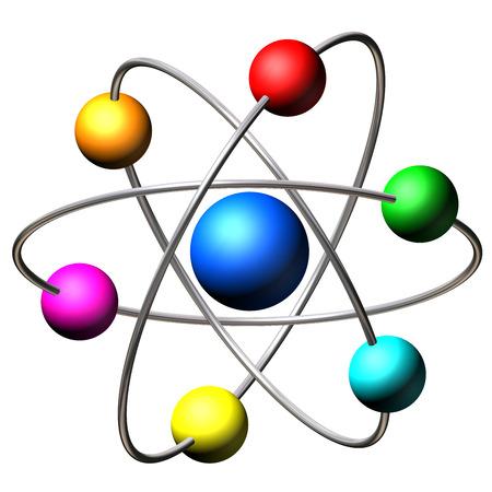 Atom molecules isolated on white background