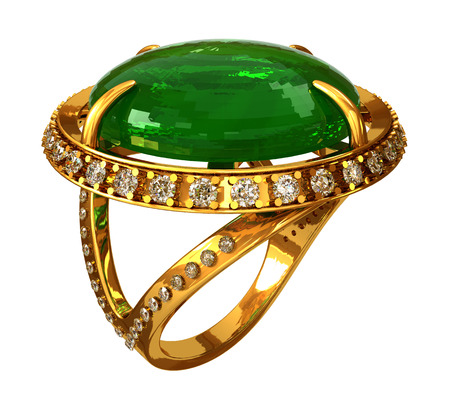 Gold ring with emerald and diamonds Stock Photo
