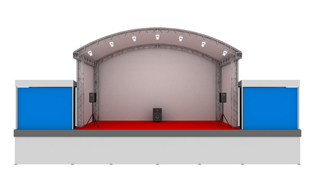 Great scene with screens for a concert on a white background